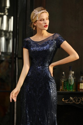 Long Sequined Cap sleeves Scoop neck Formal dress for Prom_4