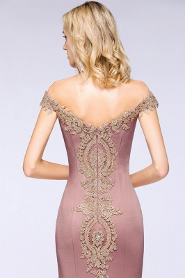 Simple Off-the-shoulder Burgundy Formal Dress with Lace Appliques_27