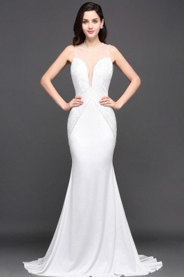 Mermaid Scoop Chiffon White Evening Dress With Beadings_2