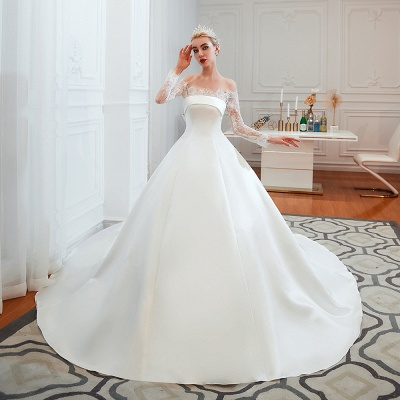 A line Off the Shoulder Lace Up Long Sleeves Wedding Dresses_4