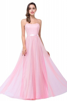 ELLIS | A-line Sweetheart Floor-length Pink Tulle Ruffles Bridesmaid Dresses_1