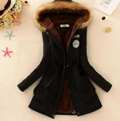 Black Long Sleeve Fur Collar Coat Hooded Zipper Button Lace Up Jacket