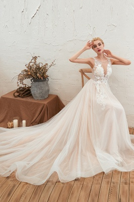 Sexy Sheath Sleeveless Tulle Lace Bridal Gowns lace Up_7