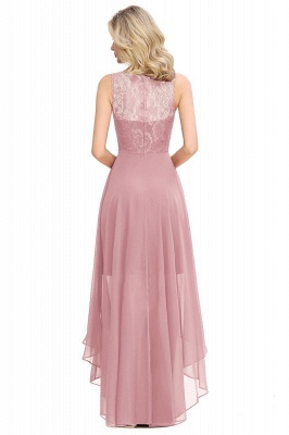 Simple Affordable Sleeveless Burgundy Lace High Low Formal Dress_8