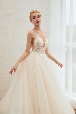 Sexy Sleeveless V Neck Tulle Ball Gown Wedding Dresses with Zipple_16