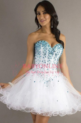 A Line Short Lace Sweetheart Organza Homecoming dresses_2