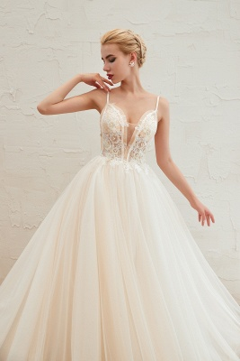 Sexy Sleeveless V Neck Tulle Ball Gown Wedding Dresses with Zipple_12