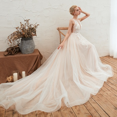 Sexy Sheath Sleeveless Tulle Lace Bridal Gowns lace Up_10
