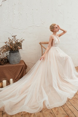 Sexy Sheath Sleeveless Tulle Lace Bridal Gowns lace Up_5