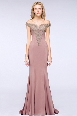 Simple Off-the-shoulder Burgundy Formal Dress with Lace Appliques_21