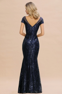Long Sequined Cap sleeves Scoop neck Formal dress for Prom_3