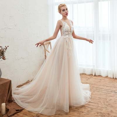 Sexy Sheath Sleeveless Tulle Lace Bridal Gowns lace Up_12