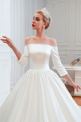 A line Off the Shoulder Half Sleeves Satin Wedding Dresses Lace Up_7