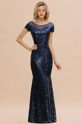 Long Sequined Cap sleeves Scoop neck Formal dress for Prom_13