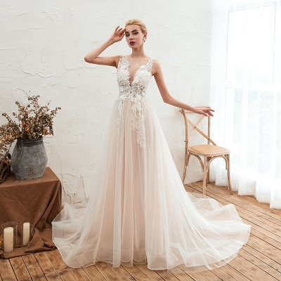 Sexy Sheath Sleeveless Tulle Lace Bridal Gowns lace Up_4