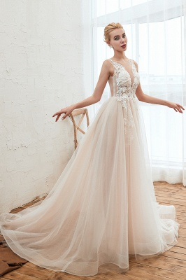 Sexy Sheath Sleeveless Tulle Lace Bridal Gowns lace Up_14