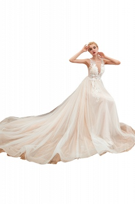 Sexy Sheath Sleeveless Tulle Lace Bridal Gowns lace Up_1