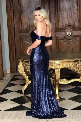Sparkly Long Off the Shoulder Mermaid Sequined Evening Dresses_4