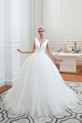 Sexy Tulle V Neck Ball Gown Wedding Dresses Sleeveless Lace Up_3