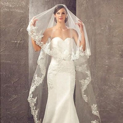 Lace Edge Bridal Veils with Comb Soft Tulle Wedding Veil_1