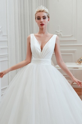 Sexy Tulle V Neck Ball Gown Wedding Dresses Sleeveless Lace Up_10