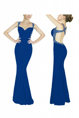 Criss-cross Back Mermaid Prom Dress with Beaded Straps_2