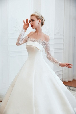 A line Off the Shoulder Lace Up Long Sleeves Wedding Dresses_15