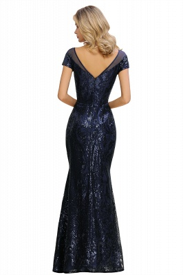 Long Sequined Cap sleeves Scoop neck Formal dress for Prom_17
