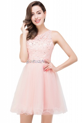ABBY | A-line Knee-length Tulle Prom Dress with Appliques&Crystal_1