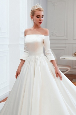 A line Off the Shoulder Half Sleeves Satin Wedding Dresses Lace Up_11