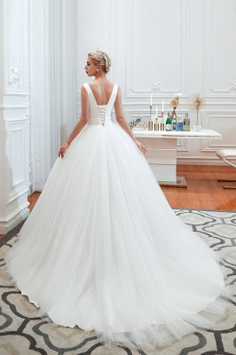 Sexy Tulle V Neck Ball Gown Wedding Dresses Sleeveless Lace Up_11