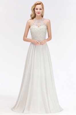 A-line Pink Pears Beaded Halter Bridesmaid Dresses_3