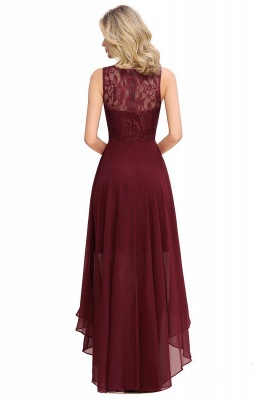 Simple Affordable Sleeveless Burgundy Lace High Low Formal Dress_6