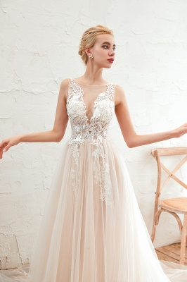Sexy Sheath Sleeveless Tulle Lace Bridal Gowns lace Up_15