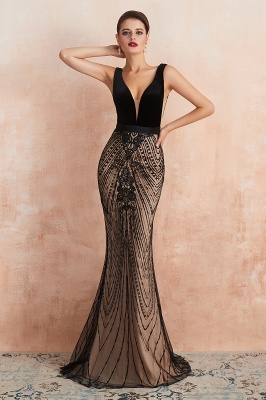 Sexy Pluging V-neck Black Complicated Style Evening Dress_6