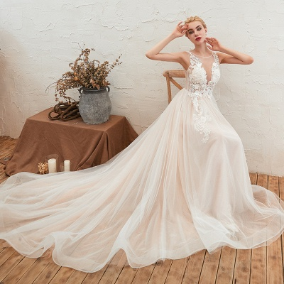 Sexy Sheath Sleeveless Tulle Lace Bridal Gowns lace Up_3