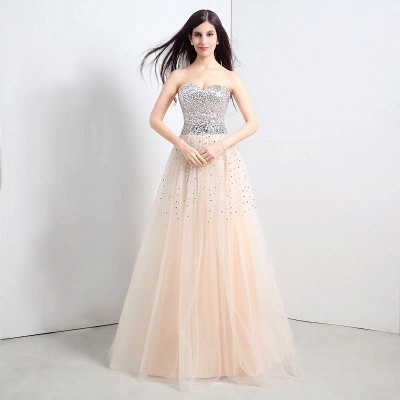 CECELIA | A-line Strapless Tulle Party Dress With  Sequined_1