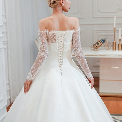 A line Off the Shoulder Lace Up Long Sleeves Wedding Dresses_24