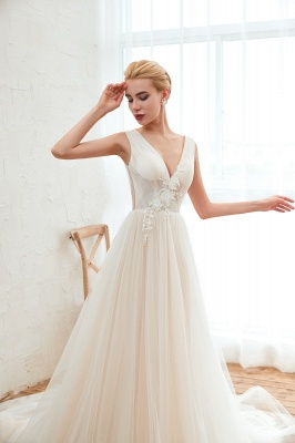 Sexy A Line Sleeveless Tulle Wedding Gowns lace Up_9