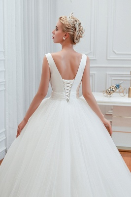 Sexy Tulle V Neck Ball Gown Wedding Dresses Sleeveless Lace Up_9
