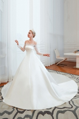 A line Off the Shoulder Lace Up Long Sleeves Wedding Dresses_5