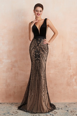 Sexy Pluging V-neck Black Complicated Style Evening Dress_4