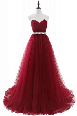 ANGELINA | A-line Sweetheart Burgundy Tulle Prom Dress With Beading_3