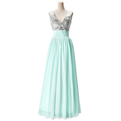 AISLINN | A-line V-neck Chiffon Party Dress With  Sequined_5