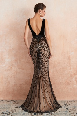Sexy Pluging V-neck Black Complicated Style Evening Dress_7