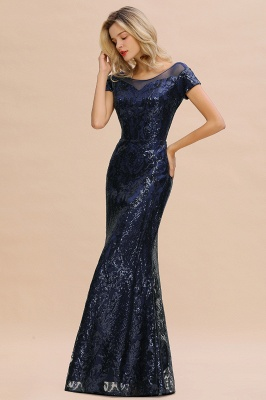 Long Sequined Cap sleeves Scoop neck Formal dress for Prom_10