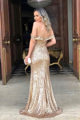 Sparkly Long Off the Shoulder Mermaid Sequined Evening Dresses_2