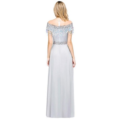 A-line Jewel Short Sleeves Sequins Evening Dress with Tassels On Sale_3
