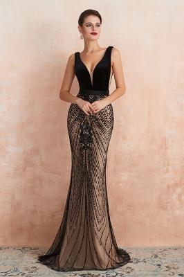 Sexy Pluging V-neck Black Complicated Style Evening Dress_2