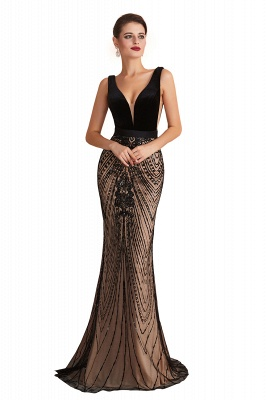 Sexy Pluging V-neck Black Complicated Style Evening Dress_1